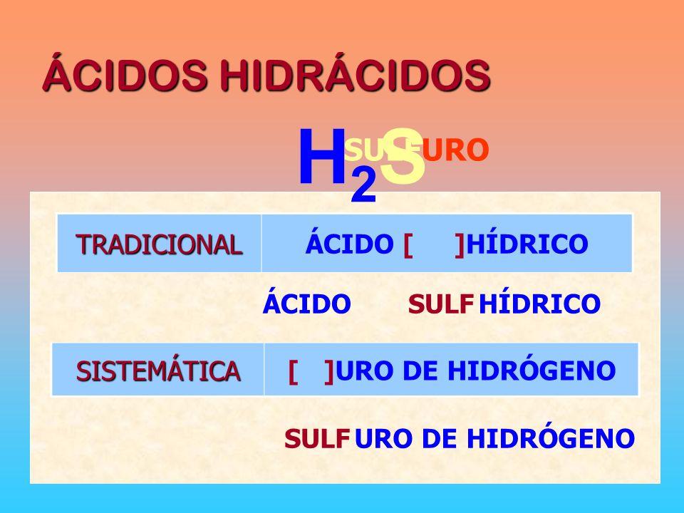 H2S ÁCIDOS HIDRÁCIDOS SULFURO TRADICIONAL ÁCIDO [ ]HÍDRICO ÁCIDO SULF